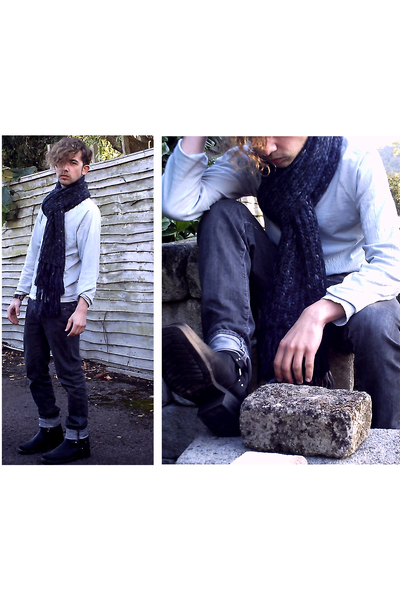H&M scarf - All Saints jeans - vintage boots