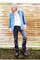 blue vintage shirt - white Unique top - gray Gap jeans - black River Island boot