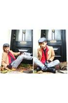 vintage jacket - military boots - vintage shirt - Topman hat