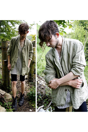 green jaeger cardigan - black H&M shorts