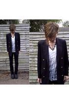 vintage blazer - DIY t-shirt - H&M pants - vintage boots