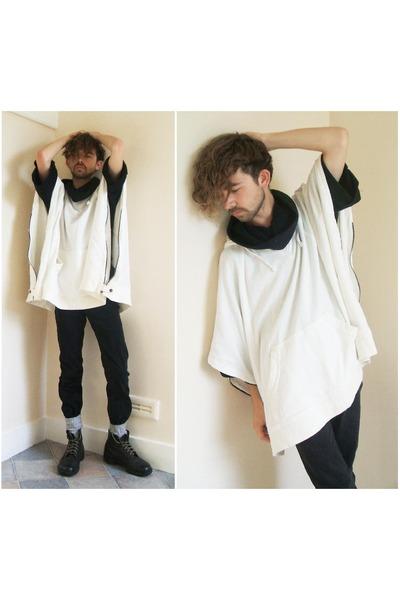white Juun J top - black asos top