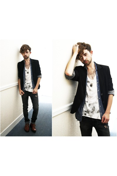 black M&S blazer - orange Vintage Brogues shoes - gray H&M jeans - white All Sai