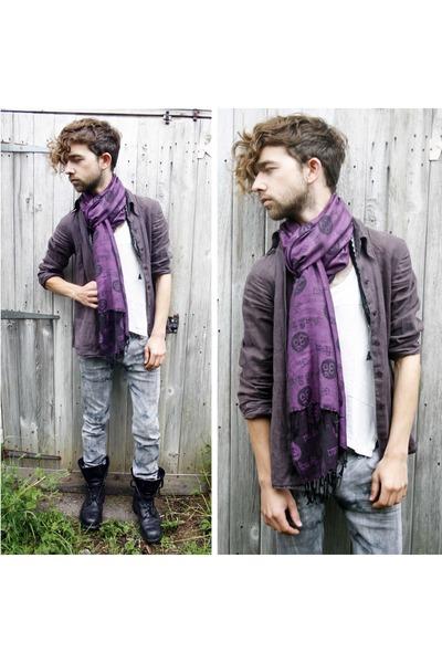 purple vintage scarf - purple vintage shirt - black Machine jeans - vintage boot