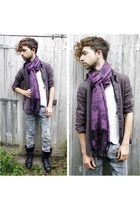 purple vintage scarf - purple vintage shirt - black Machine jeans - vintage boot