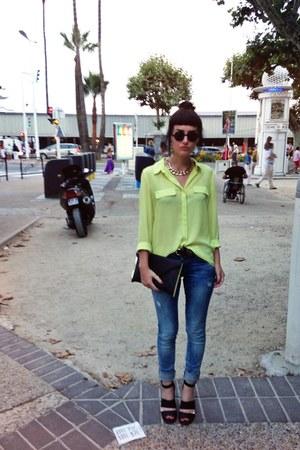 chartreuse Mango blouse