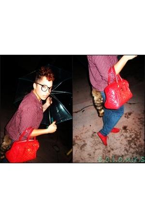 thrift shirt - Forever21 jeans - vintage purse - faux accessories