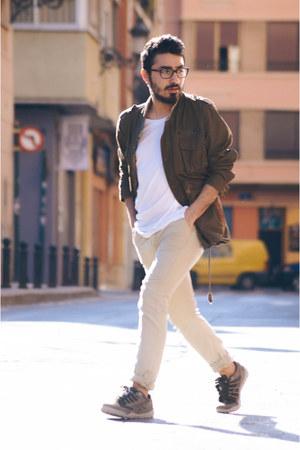parka H&M jacket - oversize Bershka t-shirt - chinos pull&bear pants