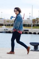 skinny jeans H&M jeans - oxfords Zara shoes - denim jacket vintage jacket
