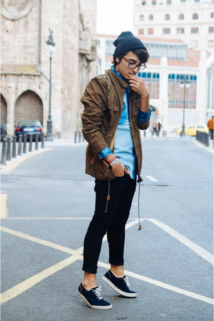 denim H&M jeans - suede Pull & Bear shoes - green H&M jacket