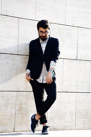 nike sneakers - knitted Zara blazer - marble H&M shirt - knitted Zara pants