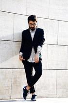 nike sneakers - knitted Zara blazer - marble H&M shirt - knitted Zara pants