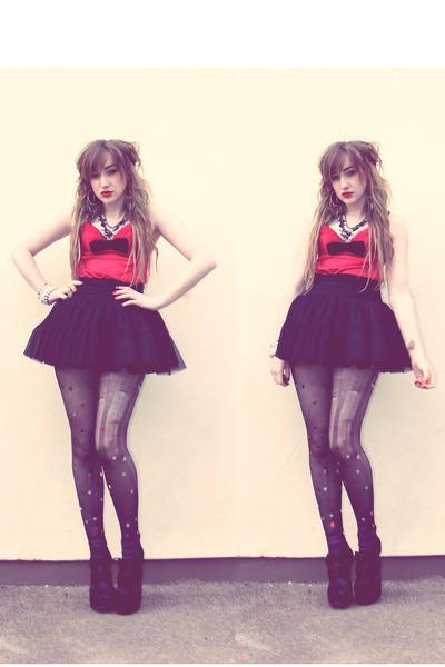 black DIY tights - black Newlook skirt - black diy bow DIY tie