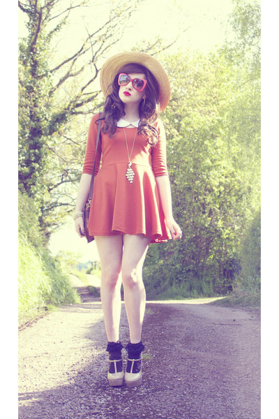 mustard peacock gold Claires necklace - carrot orange TK Maxx dress