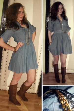 brown Zara boots - H&M dress