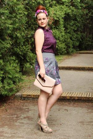 deep purple polka dots H&M shirt - ivory H&M bag - black Orsay sunglasses