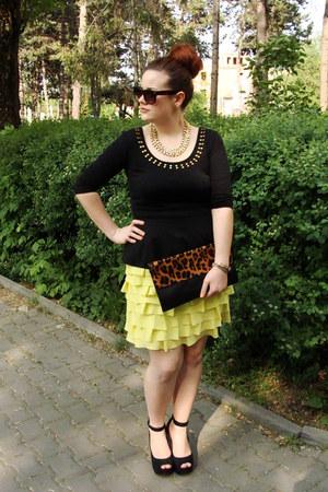 gold H&M necklace - yellow Orsay dress - black peplum H&M top