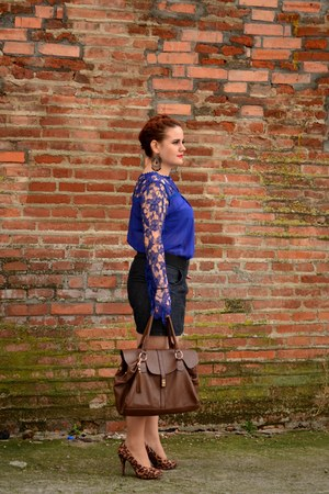 dark brown Orsay bag - navy PERSUNMALL blouse - zipper Orsay skirt