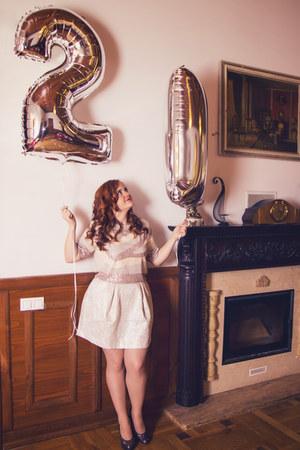 light pink sequin H&M top - gold H&M skirt - silver glitter Deichmann heels