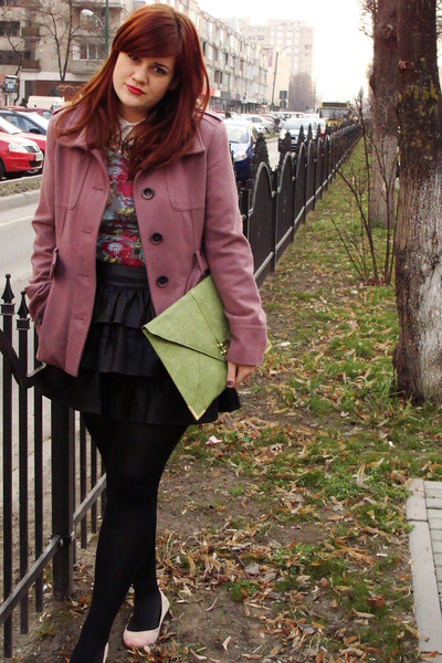 pink Orsay coat - hot pink floral Orsay dress - lime green clutch asos bag