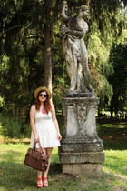tan meli melo hat - ivory lace new look dress - brown Orsay bag