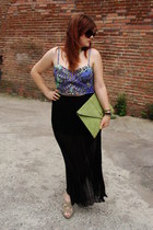 blue crop top H&M top - lime green asos bag - black Stradivarius skirt