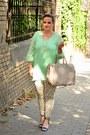 Aquamarine-sheinside-dress-neutral-tote-h-m-bag