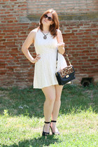 dark brown Benvenutti bag - white lace new look dress - black Orsay sunglasses