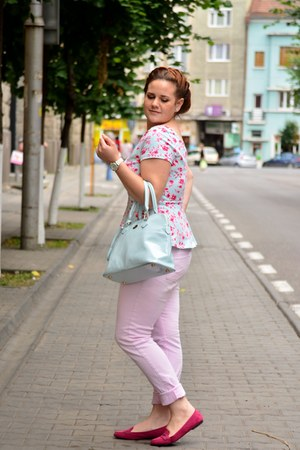 sky blue Orsay bag - hot pink Zara shoes - sky blue peplum H&M top