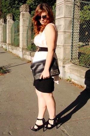 black studded Stradivarius bag - light pink Orsay sunglasses