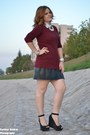 Black-leather-skirt-maroon-aggressive-sweater-white-shirt