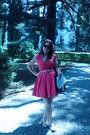 Hot-pink-orsay-dress-dark-brown-orsay-bag-dark-brown-meli-melo-sunglasses