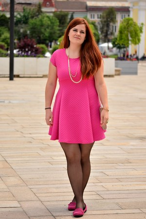 light pink H&M bag - hot pink TJ Maxx dress - hot pink Zara loafers - Orsay ring