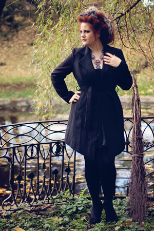 black dress - black second hand coat - statement Zara necklace