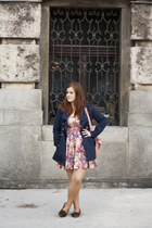 navy Zara coat - coral floral print pull&bear dress - light pink Orsay bag