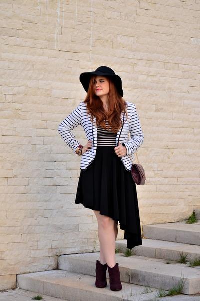 maroon H&M boots - floppy Primark hat - striped Stradivarius blazer