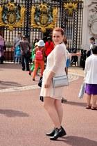 black cut out H&M boots - white H&M dress - periwinkle H&M bag