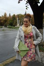 Peach-floral-print-stradivarius-dress-beige-orsay-coat-light-yellow-scarf