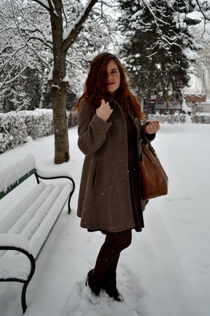 white Fossil watch - maroon Motivi boots - dark brown Orsay dress