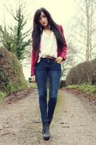 brick red red blazer H&M blazer - black new look boots