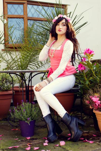 white Miss Selfridge jeans - black Choies boots - hot pink Miss Selfridge top