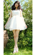 white Chicwish dress - gold River Island earrings - white new look sandals