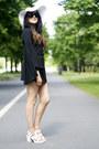 Black-oasap-dress-white-laredoute-hat-black-monochrome-bag-oasap-bag