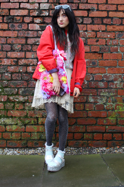 eggshell Chicwish dress - red thrifted vintage coat - aquamarine Topshop socks