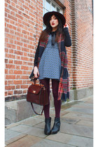 brick red Accessorize scarf - black new look boots - sky blue Topshop dress