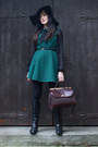 Black-primark-boots-dark-green-oasap-dress-black-topshop-hat