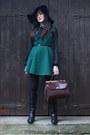 Black-primark-boots-dark-green-oasap-dress-black-topshop-hat