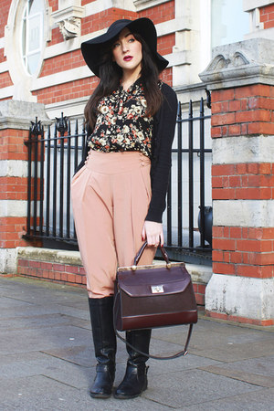 black Primark boots - black Topshop hat - brick red Accessorize bag