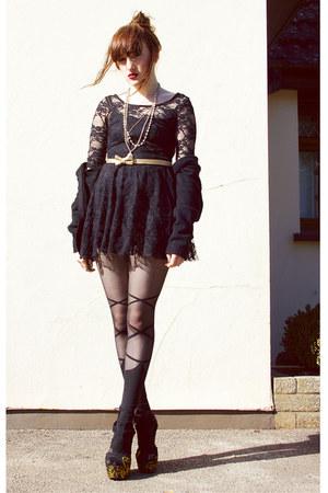 black lace dress vintage dress - black ballet tights romwe stockings