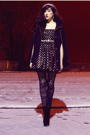 black OASAP boots - black Oh My Love dress - black Claires tights